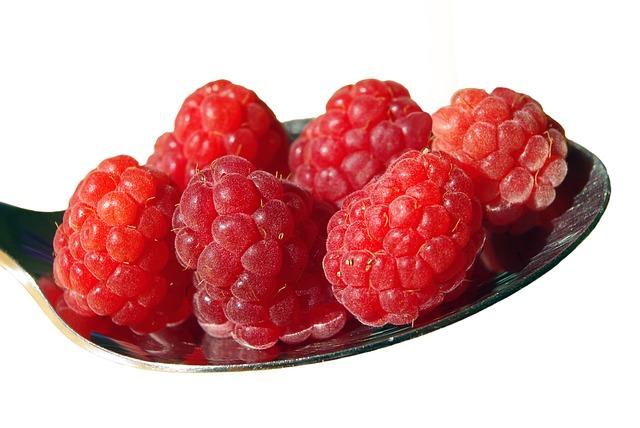 малина, фруктов, ложка