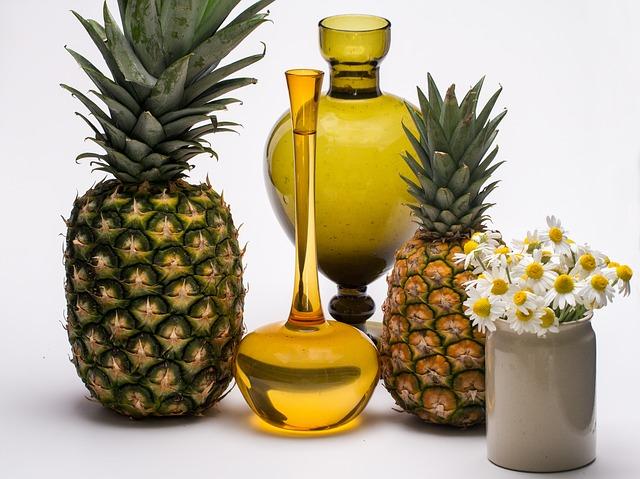 натюрморт, фруктов, ананас