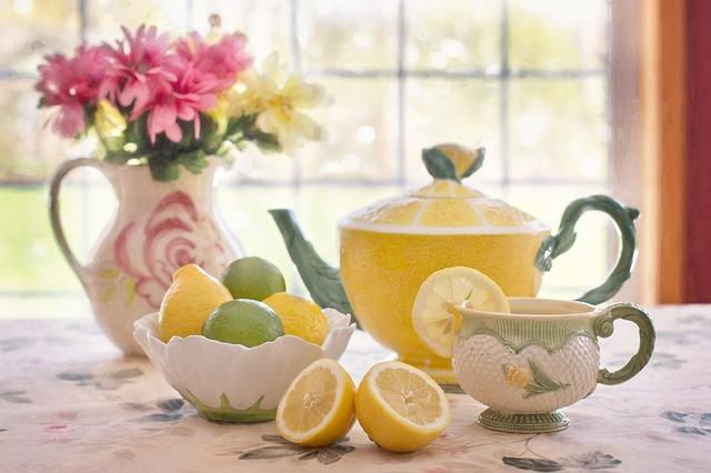 чай с лимоном, натюрморт, чайник