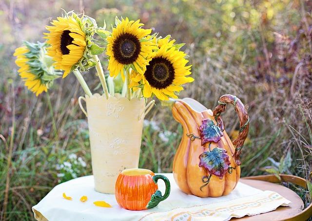 подсолнухи, ваза, осень